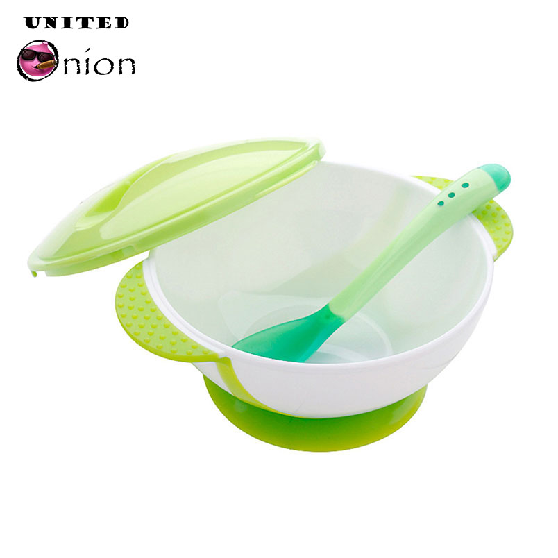 Baby Infants feeding Bowl Tray Dish With Sucker and Temperature Sensing Spoon