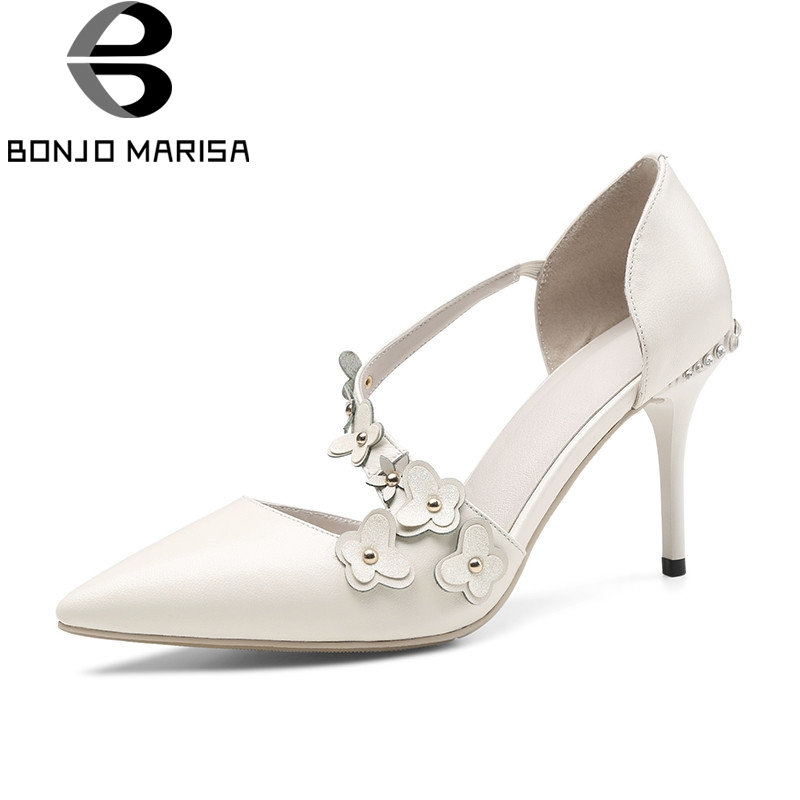 BONJOMARISA 2018 Summer Brand Genuine Leather Pumps Sexy Bow Flower Party Shoes Woman High Heels Lady Crystal Date Shoe bonjomarisa 2018 summer brand sexy women mules print patent leather pumps crystal high heels party wedding shoes woman