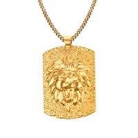 Gold Color Lion Head Tag Pendant Necklaces 316L Stainless Steel For Men Wholesale