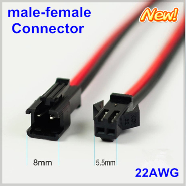 100pairs/lot 10cm/pcs 20cm/pair JST 2pin LED connecting wire male and female plug connector Terminals cable SMP 22awg Exten wire