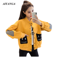 2018 Autumn Jackets For Women Preppy style Outerwear Casual Coats Female Loose Fashion Cool Single Breasted Tops S/M/L/2XL