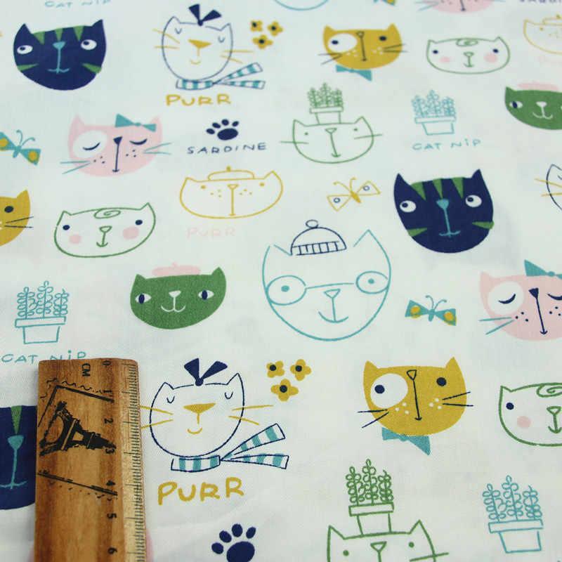 Tela de algodón de 160cm * 50cm, Rosa, Verde, con dibujo de oso, búho, flecha, gato, cheurón para DIY, ropa de cama, cojín, decoración hecha a mano
