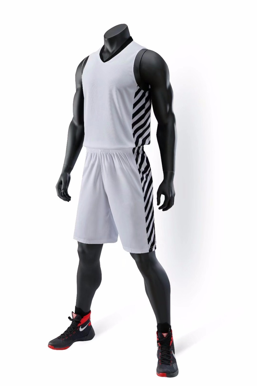 Men Cheap Throwback Basketball Jerseys Youth Blank striped Basketball Uniforms Breathable Training Sports Jerseys Sets L-5XL