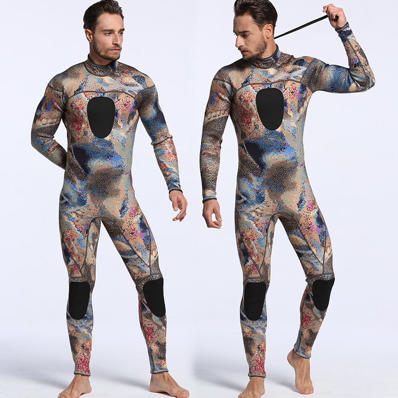 2017 men's 3mm professional diving wetsuit one piece long sleeve camouflage Snorkeling Surfing wetsuit