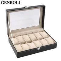 GENBOLI Jewelry Box 12 Slots Grid PU Leather Watch Box Display Storage Organizer Case Locked Black