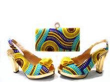 ที่มีคุณภาพสูงแฟชั่น2016รองเท้าอิตาลีกับถุงจับคู่เพื่อจับคู่, JA109แอฟริกันสีเหลืองรองเท้าและการจับคู่ชุดกระเป๋า