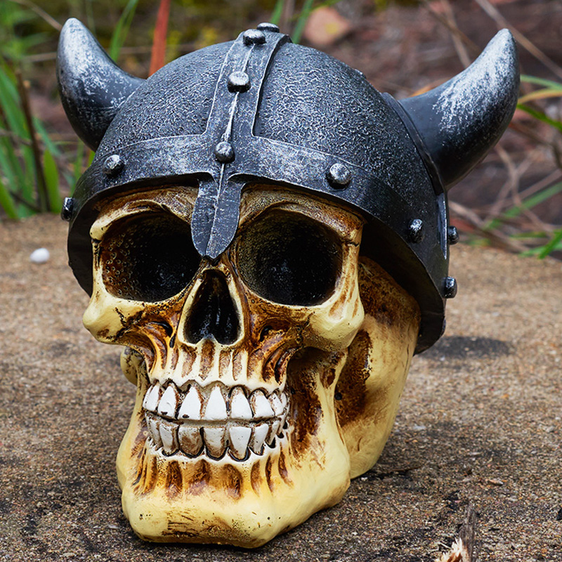 Statues Africa Home Decor Skull For Decoration Rome Warrior Ox Horn Helmet Human Resin Skull Skeleton Sculptures Art Carving