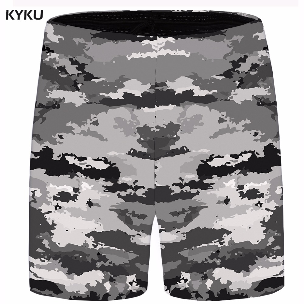 KYKU Painting Short Men Space Beach Cargo Shorts Gray Big Size Casual Shorts Cool Mens Short 2018 New Male Summer High Quality