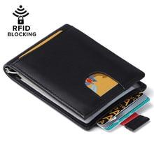 JEEBURYEE RFID Brieftasche für Männer Vintage Echtes Leder-kreditkartemappe mit Geldscheinklammer Schlanke Minimalistischen Bifold Brieftasche