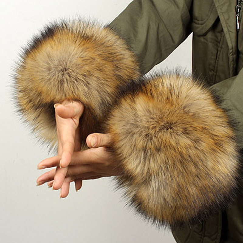 YNZZU One Pair! New Arrivals Women Winter Warm Hairy Cuff Faux Raccoon Fur Women Clothing Accessories Faux Fur Wrist Cuff YA002
