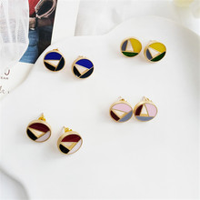 Earrings and colorful individuality  geometry assembling earrings trend Fashion girl delicate for birthday party