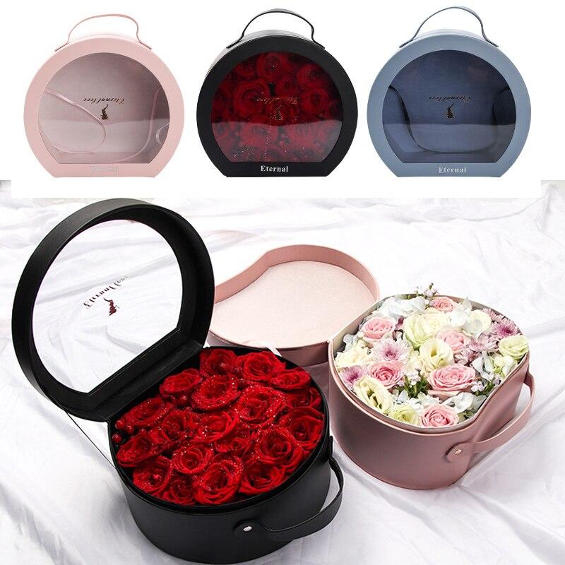 Boîtes à fleurs en cuir Transparent câlin seau Bouquet fleuriste cadeau emballage boîte saint-valentin Rose boîtes décoration de fête de mariage