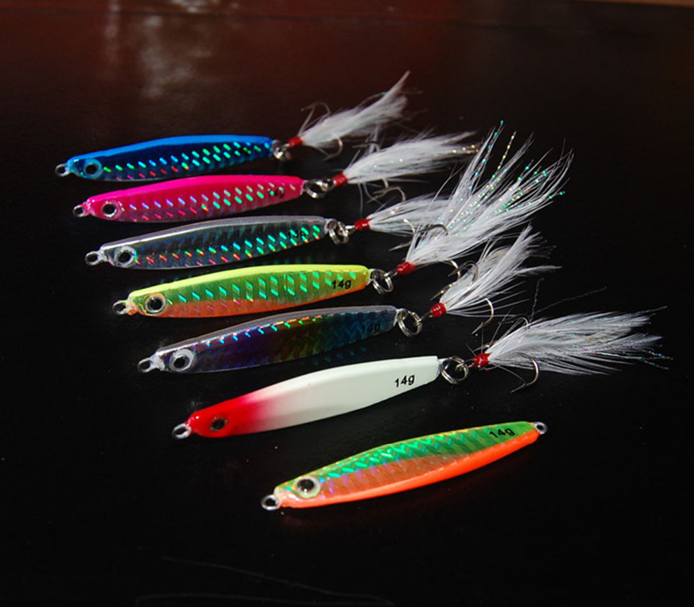 5PCS Deep sea Fishing Spoon Lure Metal Jig Jigbait Jigging spoon Hook Spinner baits 10g 14g 21g 28g Free shipping