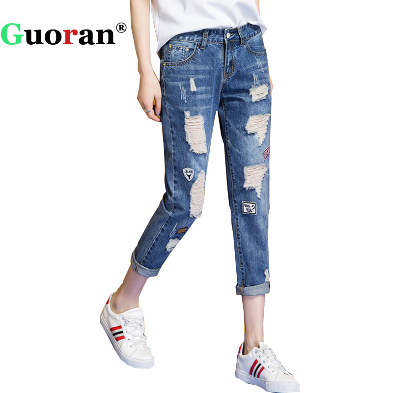 {Guoran} Holes Ripped Jeans Pants Women 2017 Plus Size Loose Boyfriend Denim Jeans Trousers Ankle Length Light Blue 25-32 plus size casual loose wide leg pants summer new women s boyfriend spliced holes blue jeans high waist ankle length trousers