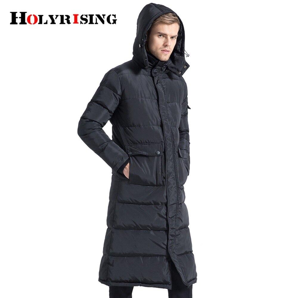 Holyrising Men   Down   Jackets Long Homme   Coat   Thicken Snow   Down     Coats   Hooded Warm Man Clothing Black Streetwear Szie S-4XL 18481-5