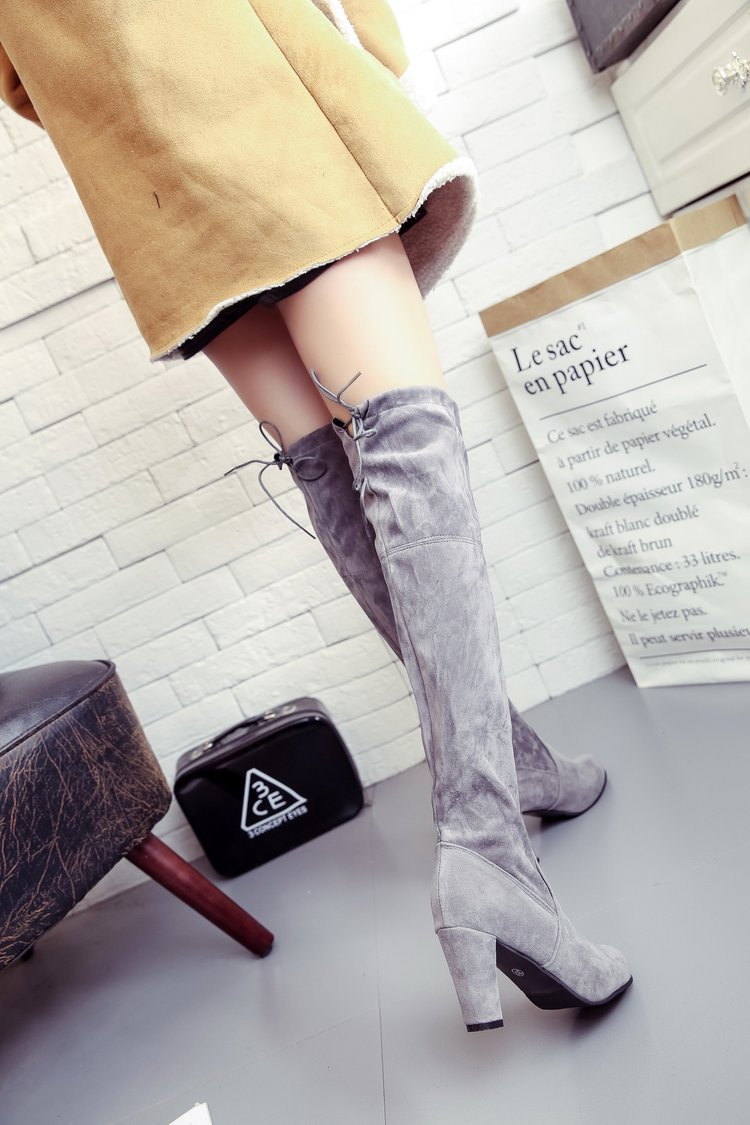New Winter Waterproof Boots Autumn Ladies Platform High Heels Thigh High Boots Lace Up Over The Knee Boots Women Long Boots