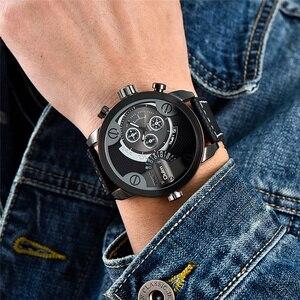 Image 5 - Oulm Militaire Horloges Luxe Merk PU Leer Quartz Horloge Man Twee Tijdzone Grote Size Mannelijke Klok Uur relogio masculino