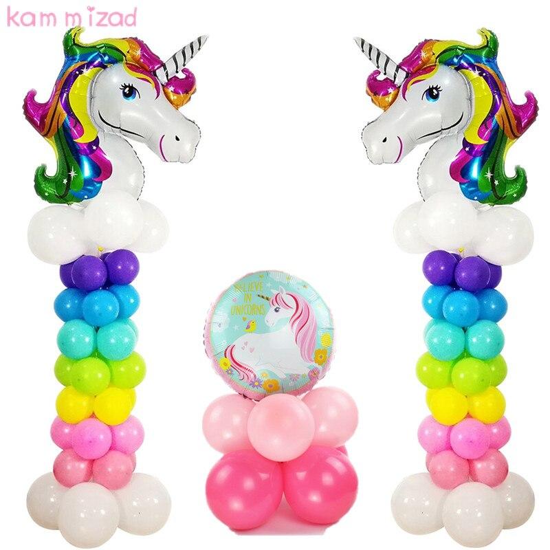ộ_ộ ༽25 piezas Arco Iris unicornio globos Decoraciones del Partido ...
