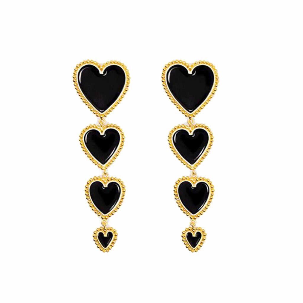 Metallo di Alta Qualità E Orecchino di Perla Dell'annata Lunga Del Pendente di Amore Rosso Geometria Dello Smalto Degli Orecchini Delle Signore Creativo Disegni Dei Monili Del Regalo