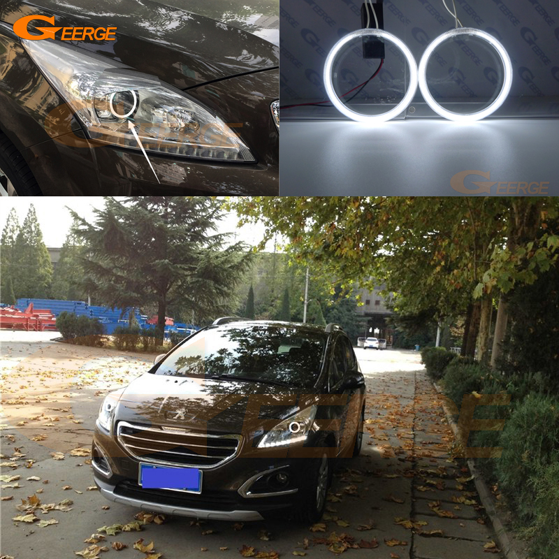For Peugeot 3008 2013 2014 2015 2016 Excellent angel eyes Ultra bright headlight illumination CCFL angel eyes halo Ring kit