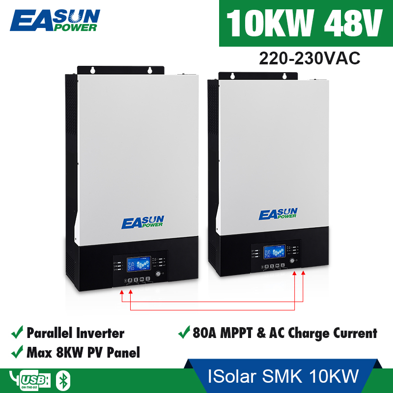 EASUN POWER 10Kw Solar inverter 230vac 48vdc 80A MPPT solar charger Parallel Inverter battery charger 60A