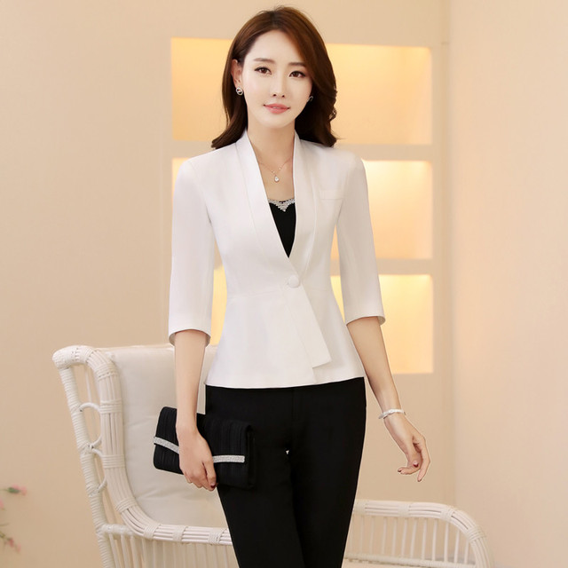 37f9b350f77 Spring Summer Elegant White Pants Suits Jackets And Pants For Business  Women Work Blazers Outfits Set Beauty Salon Plus Size 4XL