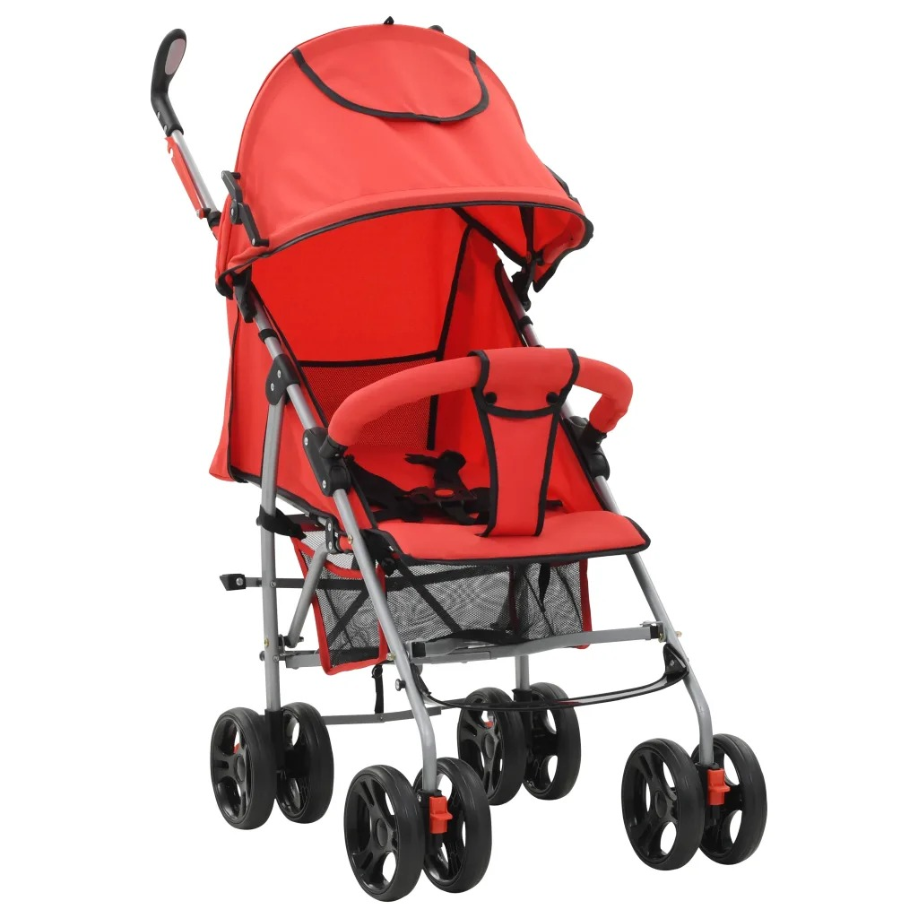 VidaXL Stroller / Pram 2-In-1 Red Steel High Quality Foldable Pram With Adjustable Seat And Footrest Double Locking SystemVidaXL Stroller / Pram 2-In-1 Red Steel High Quality Foldable Pram With Adjustable Seat And Footrest Double Locking System