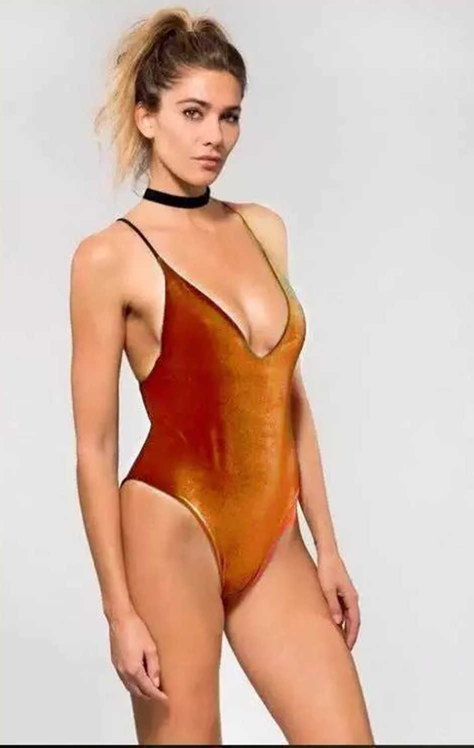 d3983e2e4ec76 ... 2017 Women One Piece Swimwear Trikini Bodysuit Special Material Velvet  Brazilian Sexy Monokini V-NECK ...