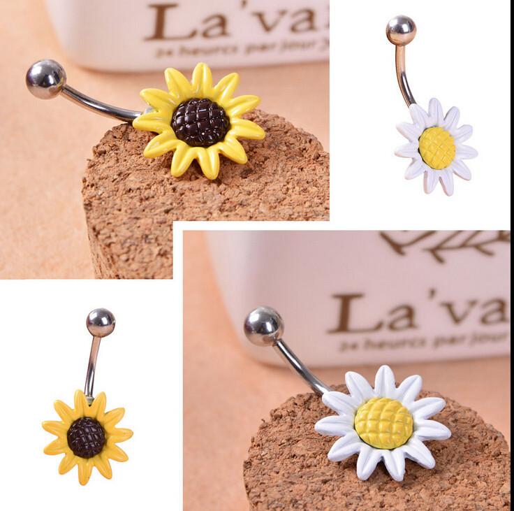 HTB1n.a4IVXXXXaDXXXXq6xXFXXXg Stainless Steel Sun Flower Belly Button Ring - 2 Colors