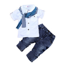 Fashion Kids Boys' Clothing Sets Summer Children Boy Clothes Suits Cotton Short Sleeve O-Neck Tops+Jeans+Scarf Kids Costume casual summer gentleman style kids boys clothing sets cotton sling strap costume shirt short jeans boys clothes suits