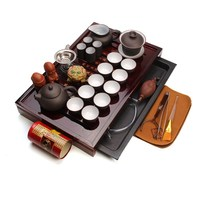 Chinese Traditional Teaware Ceremony 27 piece Tea Suit Solid Wood Tea Tray Teapot Cup Yixing Ceramic Kung Fu Tea Set Home Gift
