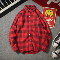 2019 autumn new tide male streetwear guy plaid shirt casual long sleeves Thin Chinese Style Yellow