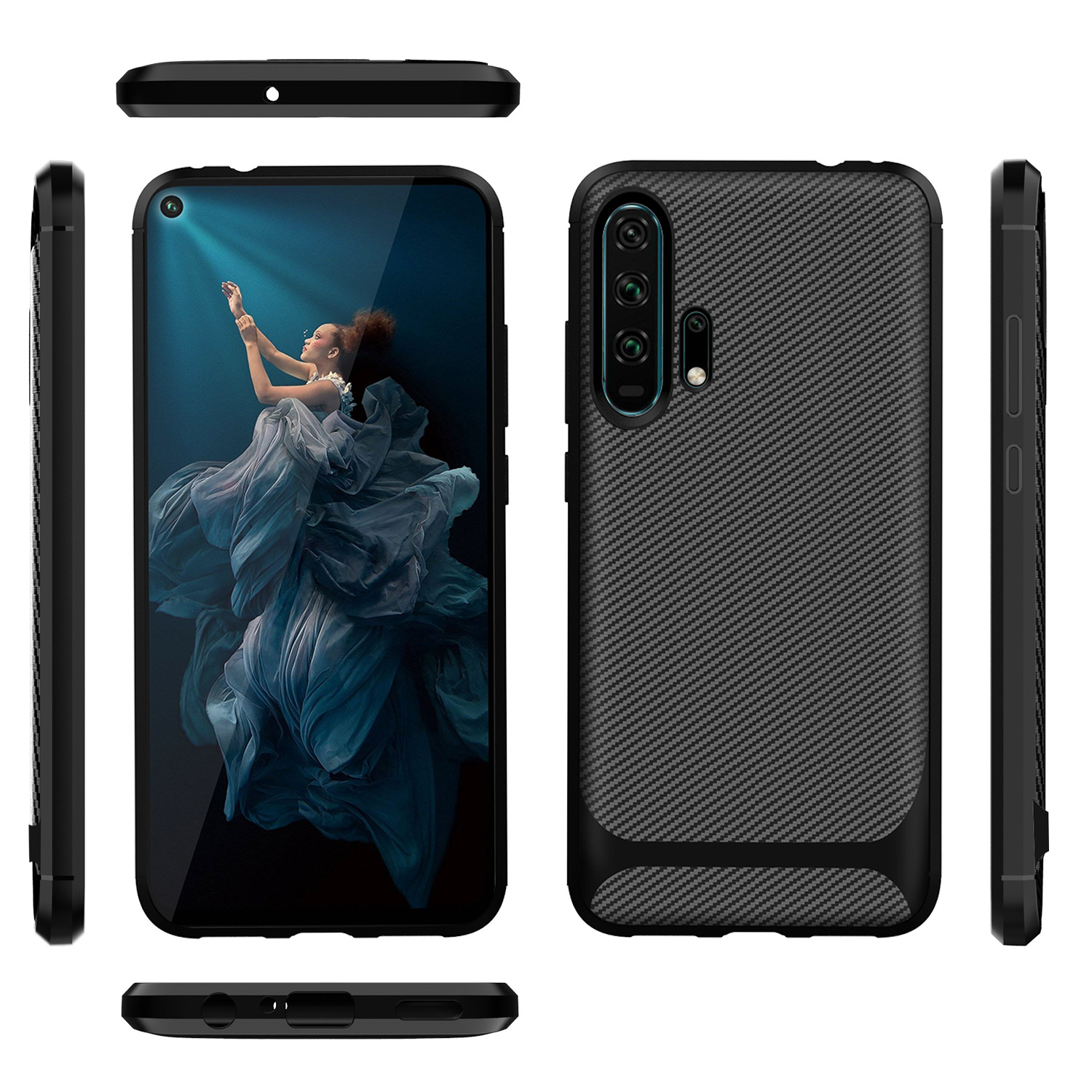 20 For Huawei Honor 20 Case Honor20 Carbon Fiber Textue Silicone TPU Soft Back Cover for Huawei Honor 20 Pro Phone Case Phone Bag (1)
