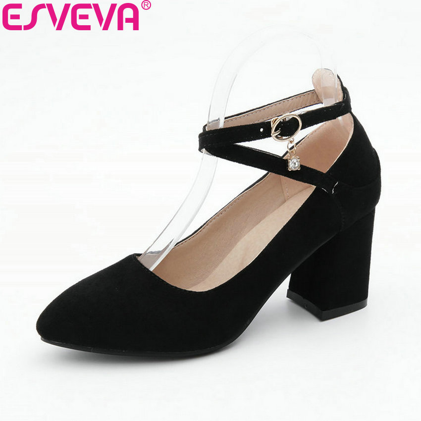 ESVEVA 2018 Women Pumps Buckle Strap Pointed Toe Suede PU Square High Heels Fashion Elegant Cross-tied Ladies Shoes Size 34-39 memunia flock pointed toe ladies summer high heels shoes fashion buckle color mixing women pumps elegant lady prom shoes