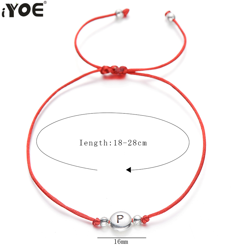 IYOE Handmade Red Thread String Rope 26 Letter Bracelet For Women Men Silver Color Initials Name Bracelets Paired Couple Jewelry