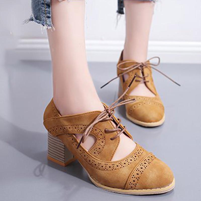 3986908e22a Ariari 2019 spring women pumps shoes women high heel single shoe Lace-up  thick heel