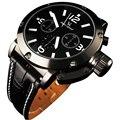 Reloj 2017 Nuevo Diseño de La Venta Caliente Del Estilo Del Deporte Negro Dial Correa de Cuero del Cuarzo de Los Hombres Reloj de pulsera Envío Gratis 17Jan9
