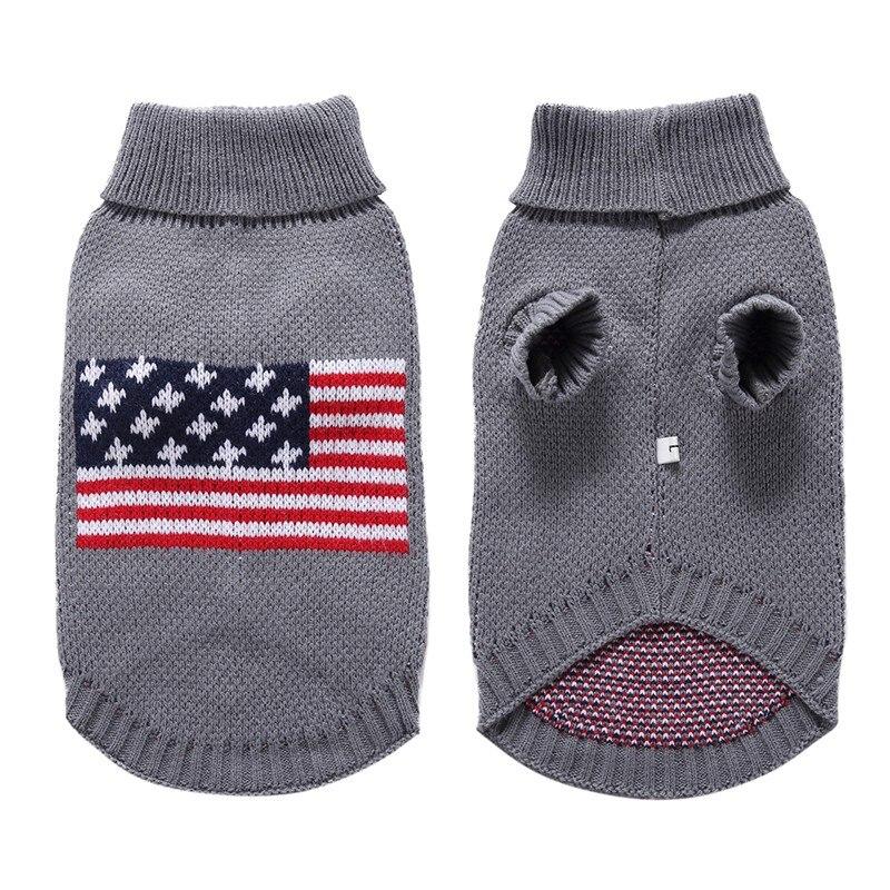Perro patrón de la bandera ee.uu. suéter caliente ganchillo Navidad ...