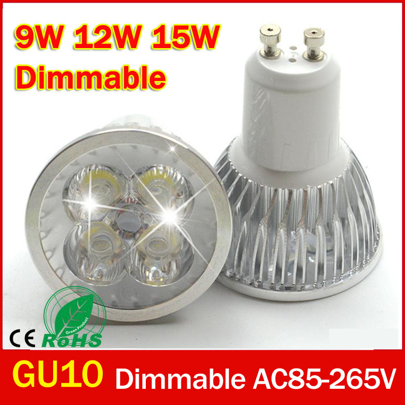 Ultra Bright Dimmable 9w 12W 15w GU10 LED Bulbs Spotlight High Power gu 10 led Lamp White LED SPOT Light Free Shipping 1w led bulbs high power 1w led lamp pure white warm white 110 120lm 30mil taiwan genesis chip free shipping
