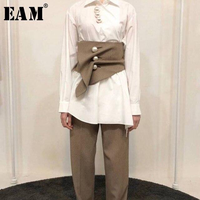 [EAM] 2019 New Summer Khaki Plaid Irregular Three-dimensional Cut Nailed Fold Wide Belt Women Fashion Tide All-match JF546