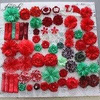 אביזרי שיער פרח אדום פרח חג המולד ירוק עבור סרט פרח שיער DIY