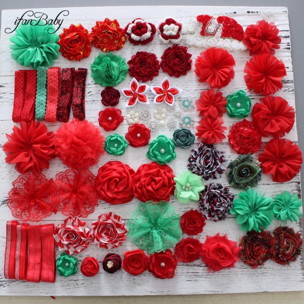 Hair flower accessories Christmas  flower Red Green for DIY hair flower headband flower