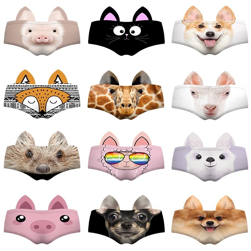 Real Animal 3D Pattern Sexy Women   Panties   Ears Baby Pig Cat Corgi Fox Giraffe Goat Hedgehog Llama Pinscher Lady Underwear Briefs