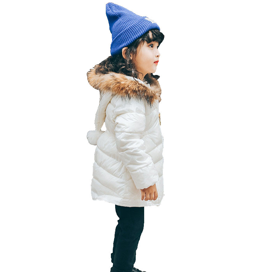 Girls Coat With Faux Fur Collar European Cotton Padded Jacket For Girls Fashion White Thick Warm Parka Children Winter Kids Coat