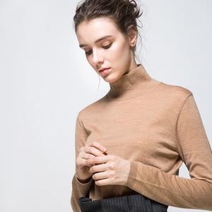 Image 5 - 여성 양모 풀오버 100% 울 스웨터 여성용 터틀넥 플랫 니트 2019 가을 겨울 bottoming 스웨터