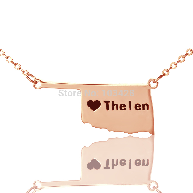 Personalized America State Necklaces DIY State Of Pendant Charm Necklace Custom Rose Gold Color Oklahoma Map Necklace