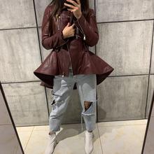 women real leather jacket ladies genuine leather coat cheap GO BALLISTIC YA zipper REGULAR Full Leather Suede 040401 Polyester Long Sheepskin High Street Turn-down Collar