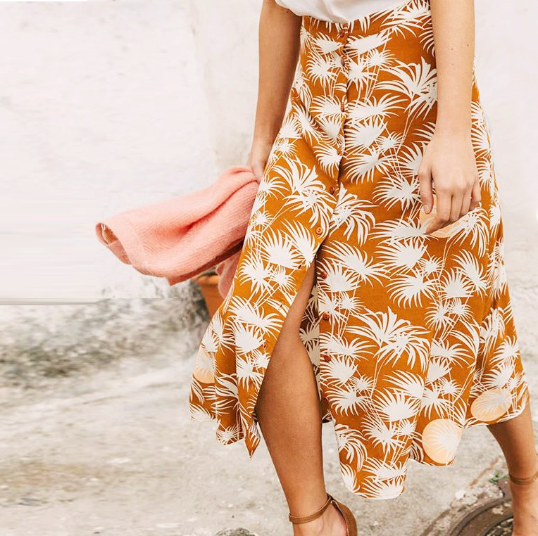 Women Skirt 2019 Spring and Summer Vintage Breasted Palm Print Skirt