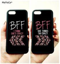 BFF i think she is crazy good sisters soft edge phone cases for apple iPhone x 5s SE 6 6s plus 7 7plus 8 8plus XR XS MAX case