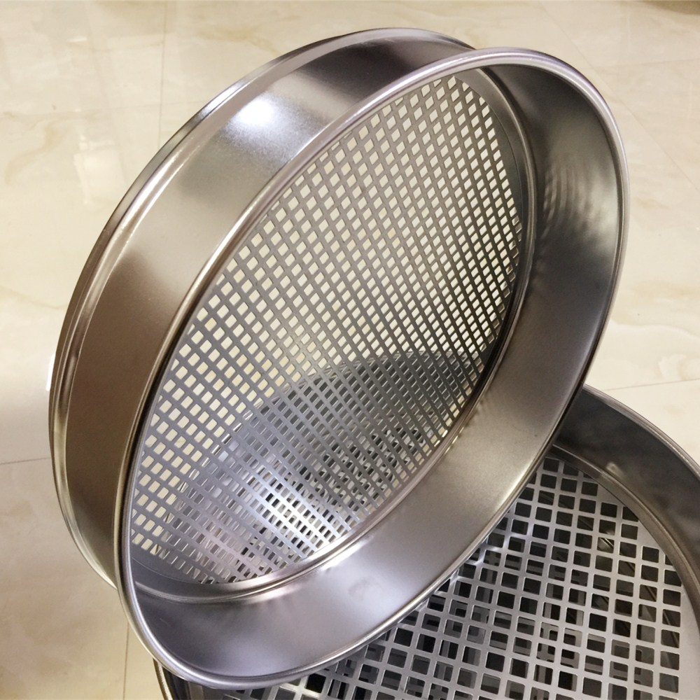 R30cm Gravel sieve Aperture 0.075-9.5mm Standard Laboratory Test Sieve Square hole sieve Stone sieve with lid and bottomR30cm Gravel sieve Aperture 0.075-9.5mm Standard Laboratory Test Sieve Square hole sieve Stone sieve with lid and bottom
